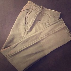 Washed olive green chinos